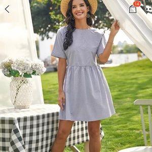 Stripe print round neck smock dress